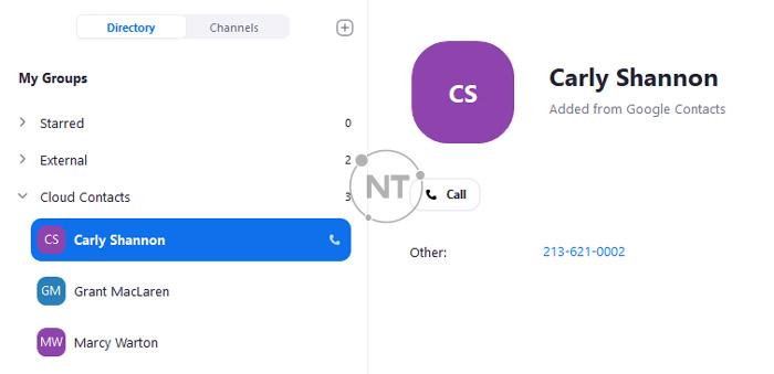 Trong phần My Groups, nhấp vào Cloud Contacts và chọn một liên hệ để gọi