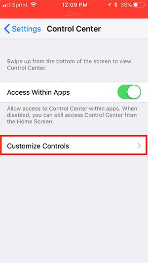 Customize Controls.