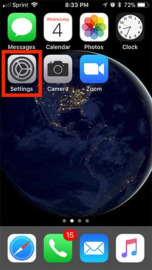 Mở Settings trên thiết bị iOS của bạn.