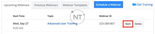 Đăng nhập vào cổng web Zoom và nhấp vào Webinars. Tìm hội thảo trên web và nhấp vào Start.