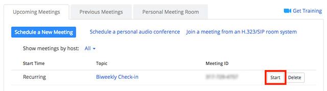 Bắt đầu cuộc họp đầu tiên của bạn với tư cách là người chủ trì