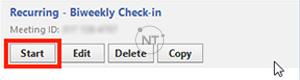 Trong ứng dụng zoom, bấm vào tab Meetings. Tìm hội thảo trên web và nhấp vào Start.