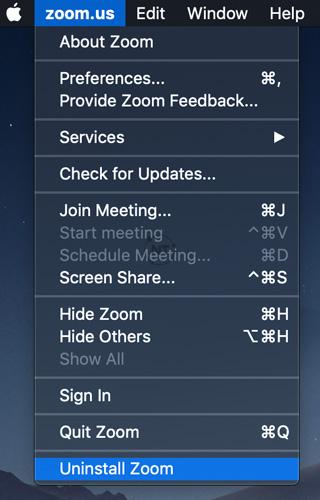 Gỡ cài đặt Zoom trên macOS trên phiên bản 4.4.53932.0709 trở lên