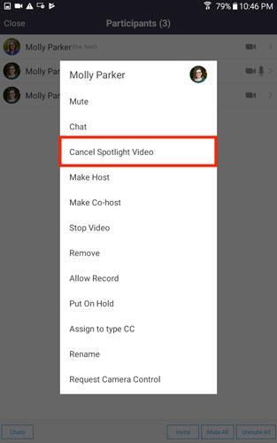 Nhấn vào Cancel Spotlight Video.