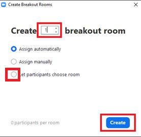 Tại ô Create breakout room – Nhập số lượng phòng mà bạn muốn tạo, tối đa 50 phòng