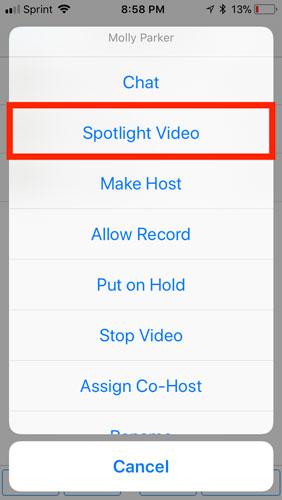 Nhấnvào Spotlight Video.