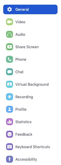 Thao tác này sẽ mở cửa sổ cài đặt, cho phép bạn truy cập vào các tùy chọn sau: