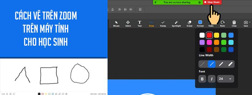 Cách vẽ trên Zoom máy tính cho học sinh