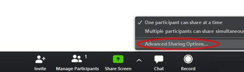 Khi list menu hiện ra, bạn hãy nhấn vàoAdvanced Sharing Options…