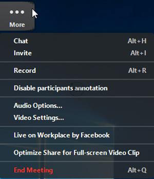 Cách bật hộp thoại Chat Zoom