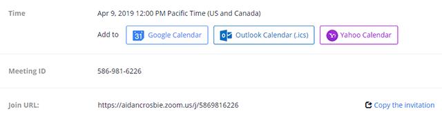 Sau khi hoàn tất, bạn có thể chọn một tùy chọn lịch để thêm cuộc họp đã lên lịch vào lịch của mình hoặc chọn Copy The Invitation để gửi lời mời đến cuộc họp Zoom của bạn.