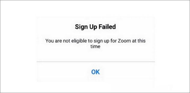 Bạn không đủ điều kiện đăng nhập vào Zoom vào thời điểm này