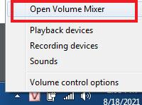 Điều chỉnh đầu ra âm lượng thông qua bộ trộn âm lượng trên Windows