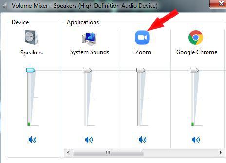 Tìm ứng dụng Zoom trong Volume Mixer và sử dụng thanh trượt để giảm âm lượng
