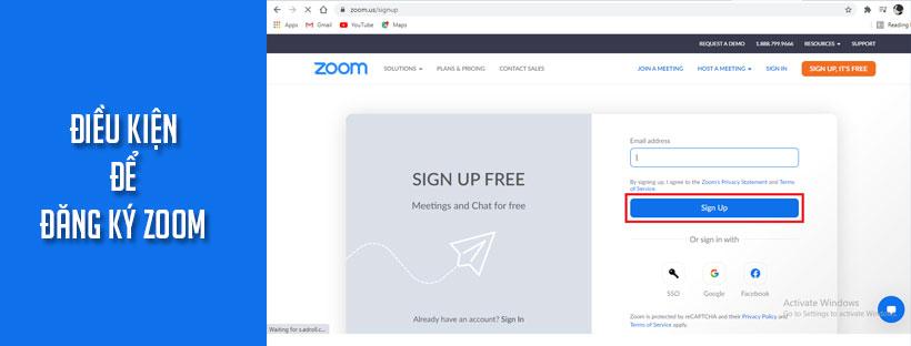 Điều kiện để đăng ký Zoom