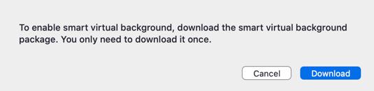 Khi được nhắc, nhấp vào Tải xuống để tải gói nền ảo mà không cần màn hình xanh lục.
