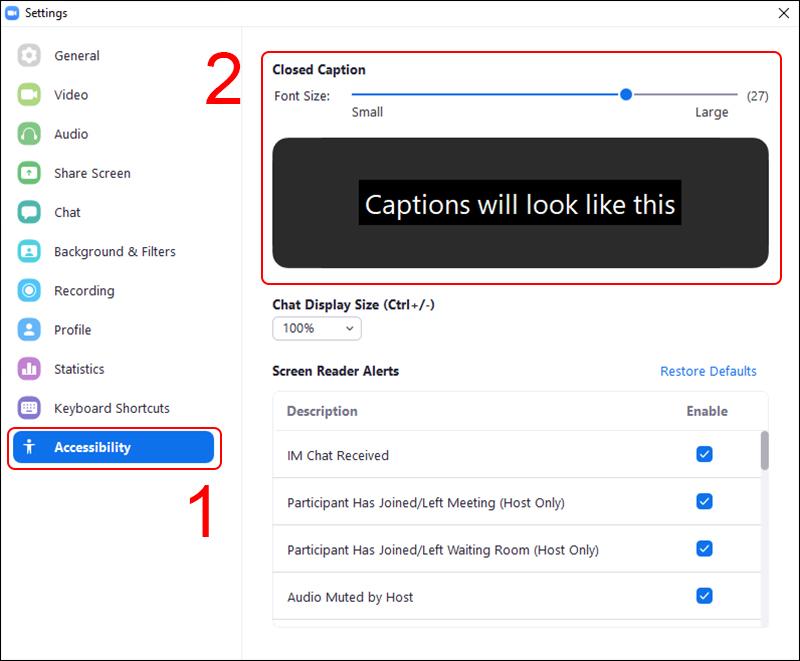 Cách sử dụng Closed Caption khi trực tuyến