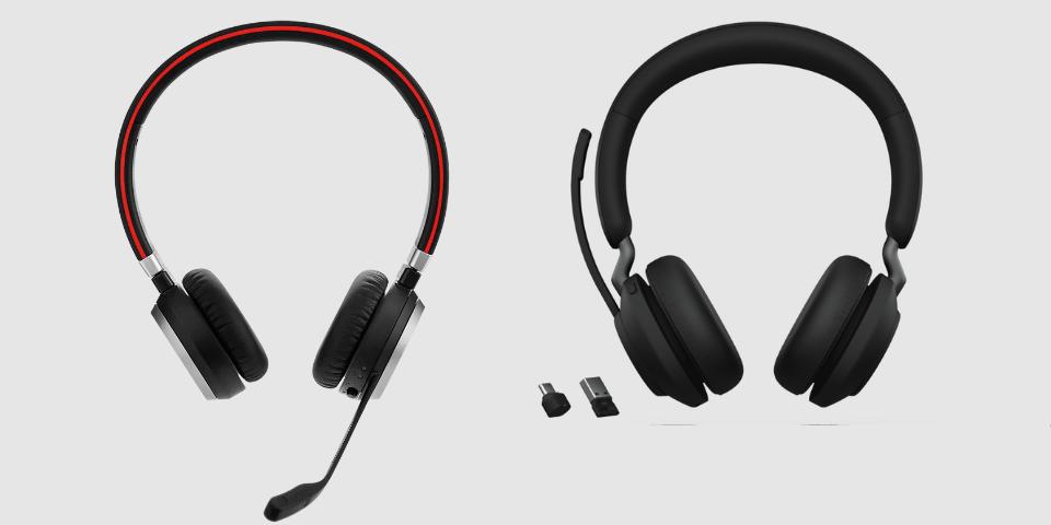 Jabra Evolve2 65 (phải) lớn hơn Evolve 65 (trái).
