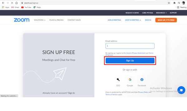 Nhập email mà bạn muốn đăng ký, nhấp chọn sign up.