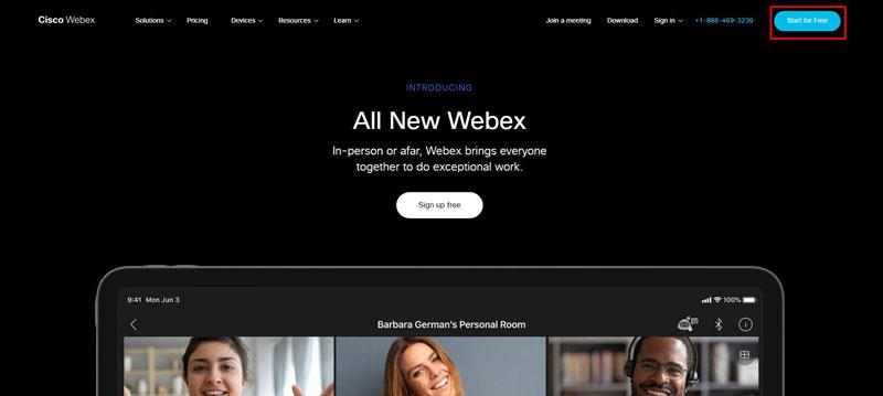 Đăng kí tạo tài khoản trên Webex