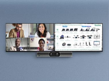 hỗ trợ màn hình kép cho các cuộc họp video, chia sẻ màn hình, bảng trắng, v.v.