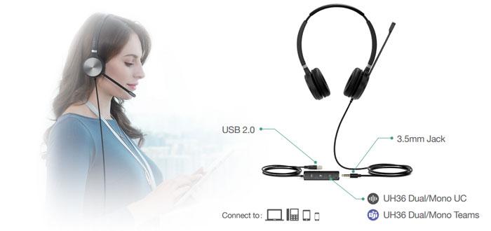 Yealink UH36 trang bị hai tùy chọn kết nối linh hoạt