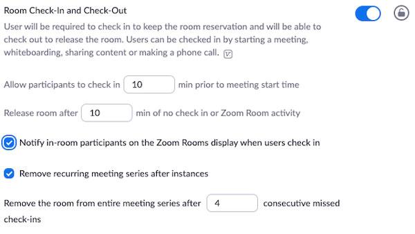 Bật tính năng nhận phòng và trả phòng của Zoom Rooms