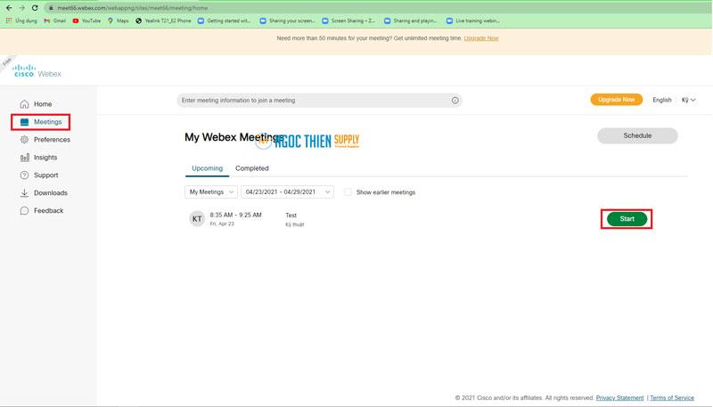 Cách tạo phòng họp trên Webex