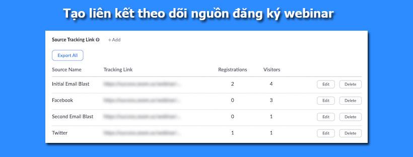 Tạo liên kết theo dõi nguồn đăng ký webinar