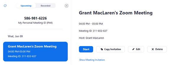 Chọn cuộc họp mà bạn muốn mời người khác tham gia. Nhấp vào Sao chép lời mời.