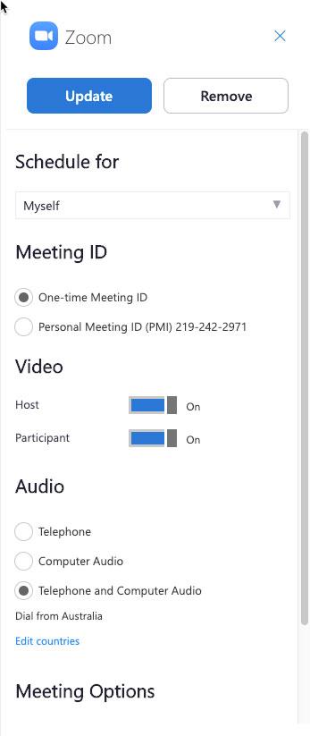 Thay đổi các tùy chọn cuộc họp của bạn và nhấp vàoUpdate để áp dụng các thay đổi.