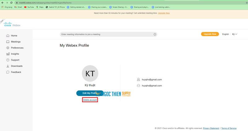 Cách xóa tài khoản Webex Free vĩnh viễn