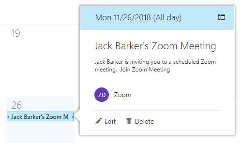2. Cách xem, chỉnh sửa và xóa cuộc họp Zoom trên Outloook